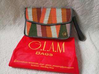 Tas tangan wanita clutch bag GLAM coklat orange pesta batik etnik butik tradisional cokelat