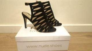 NEW 'Nude Footwear' Black Peep-toe Boot Heels 100% Suede [37]