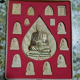 Phra Somdej Toh. Big Kamakan Set of 15 piece Old Thai Amulets Buddha Antique 2542
