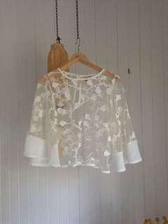 White lace mesh top