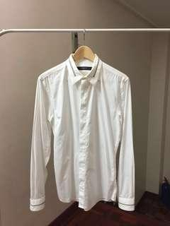 RM1499 Givenchy White Zip Inlay Cuban-Fit Shirt