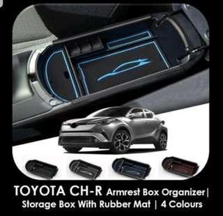 (CHEAPEST PRICE GUARANTEE) TOYOTA CH-R Armrest Box Organizer / Storage Box with Rubber Mats / 4 Colours