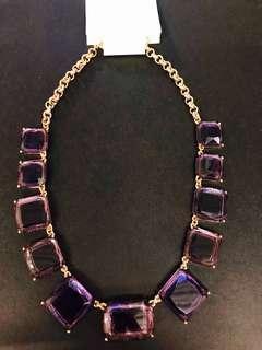 Purple rhinestone necklace statement chain 紫色水晶鍊 頸鍊 項鍊 高貴全新 金鍊