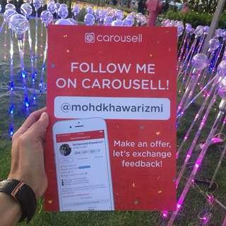 FOLLOW ME ON CAROUSELL!! FREE POSTAGE FOR YOUR HAPPINESS