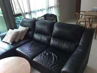 Free Preloved Leather Black Sofa