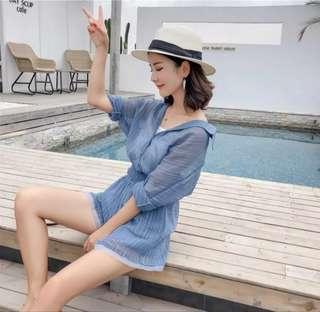 ◈微透肌襯衫雪紡三件式短褲套裝(藍)