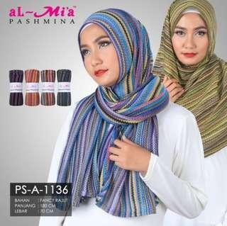 Pashmina Al-Mia type airport colour diskon 50%