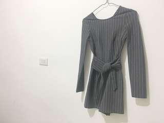 🚚 Bershka zara副牌 條紋灰色合身連身褲 西裝風#九月女裝半價