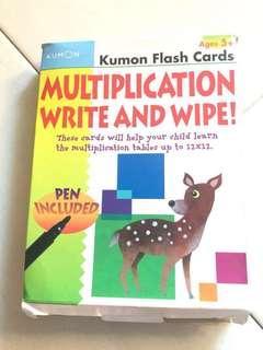 Kumon flash cards multiplication write and wipe!