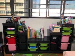 Ikea Trofast Toys Storage with Multi-Colour Storage Box (Black)