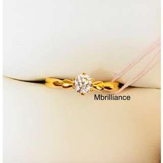 Solitaire Cz stone ring 22k / 916 solid gold Mbrilliance®