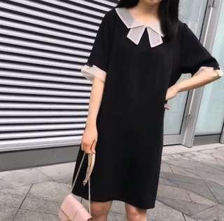 Black one piece dress (ribbon collar/pearl deco) 小黑裙 蝴蝶結領 珍珠 斯文款 全新 微胖可穿
