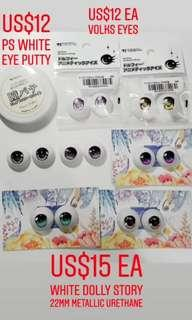 Various Dollfie Dream urethane eyes 22mm and 24mm Volks White Dolly story