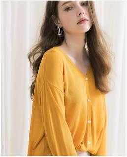 🚚 MEIER.Q 薄透涼感針織罩衫-金駝色 #九月女裝半價