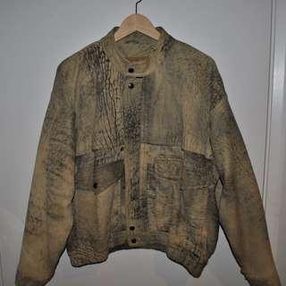 Oversized vintage 80s distressed beige and black leather jacket