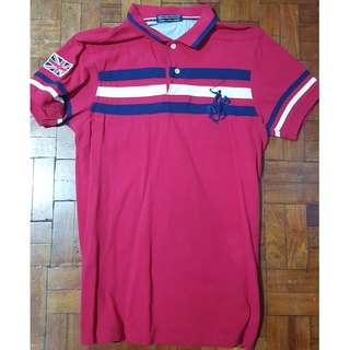 Mens Polo Shirt Medium Blue Baleno Red Beverly Hills Casual