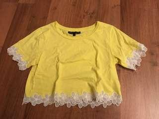 Preloved Topshop Petite Original Yellow Flower Crop Top Small