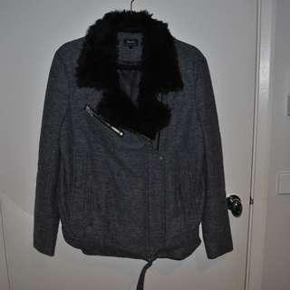 Grey boiled wool bardot biker jacket with satin lining and black fuax fur collar