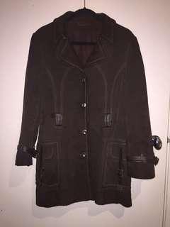 Vintage 70s style dark brown suede jacket