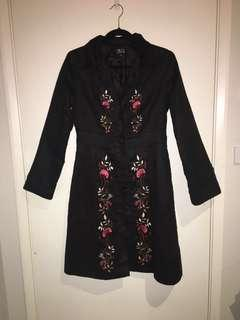 Beautiful knee length suede style embroidered coat