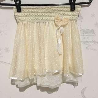 Cute Cream Skirt with Ribbon