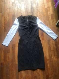 Victoria Secrets Black white long sleeved colour block body con dress Low V neck