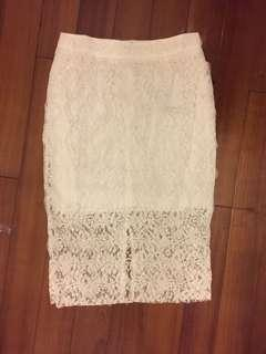 New white lace skirt