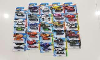 Assorted Hot Wheels model cars