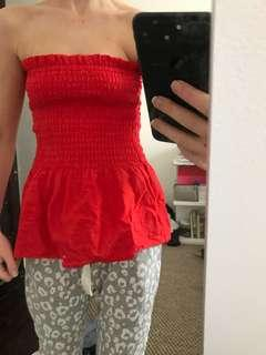 Red shirred top