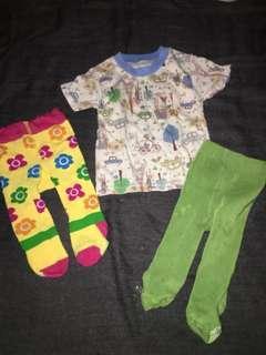 take all preloved paket newborn : kaos dan legging / stocking bayi