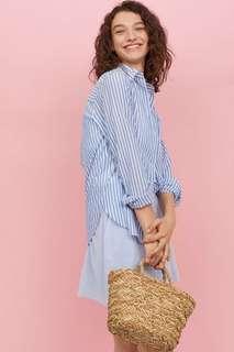 h&m striped light blue shirt