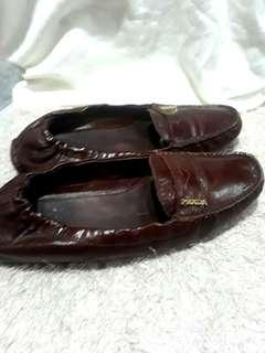 Prada Burgundy Scrunch Loafer Driving