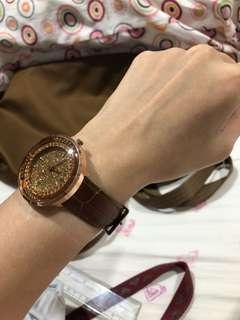 Brown Leather Gold Face Watch