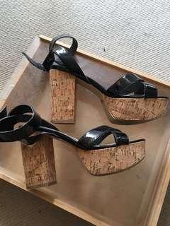 WINDSORSMITH black strappy cork block heels