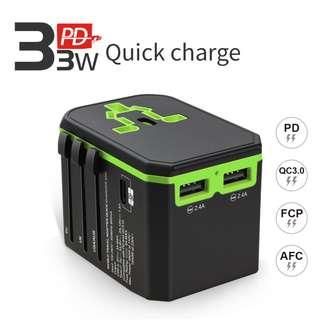 International Power Adapter,2000W Universal Power Adapter,All in one Travel Adapter with 33W Output USB C PD/QC 3.0 Quick Charging and Dual 2.4A USB