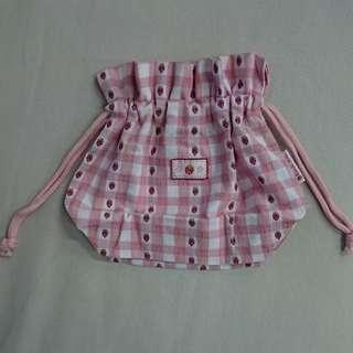 Strawberry Pink and White Calico Cloth Drawstring Pouch