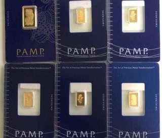 PAMP - 1g gold bar for grab ❤️💚🧡💛💙💜