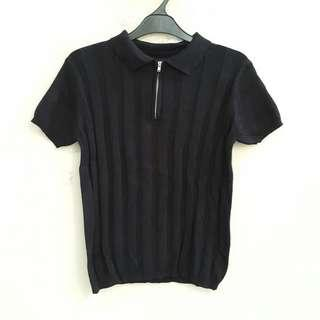 The Executive Black Ribbed Top