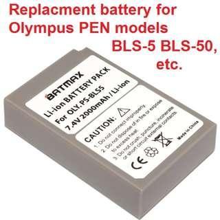 🚚 Singapore stock, Batmax 1Pc 2000mAh 7.4V PS-BLS5 PS BLS5 PSBLS5 Battery for Olympus OM-D E-M10 PEN E-PL2 E-PL5 E-PL6 E-PL7 E-PM2 Stylus 1 EM10 II