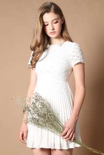 TSW Calista Eyelet Pleats Dress in Dreamy White