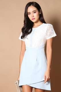 TSW Candice Lace Overlap Dress In Powder Blue