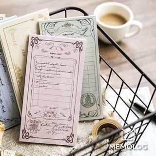 Vintage European Long Rectangular Memo Pad/Note Pad/To-do-list/Checklist