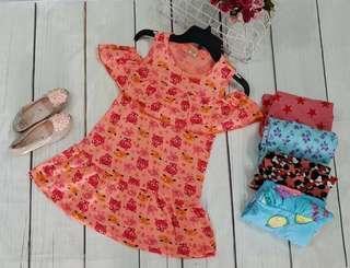 Girl cotton cold shoulder dress