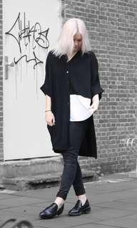COS Black Cardigan Faux White Shirt XS - M