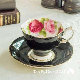 Pretty Royal Albert Old English Rose cabinet teacup and saucer, 1950s, made in England