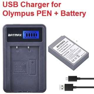 🚚 LCD Charger + 1 PS-BLS5 Battery 2000mAh 7.4V  for Olympus PEN E-PL2, E-PL5, E-PL6, E-PL7, OM-D E-M10, E-M10 II, Stylus1 for PS-BLS5 BLS-5 BLS5 BLS-50 BLS50 Battery