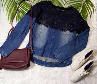 Lace Denim Pullover