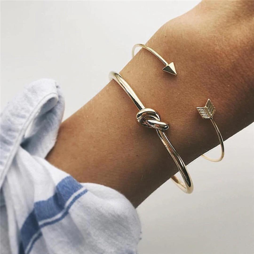 46917162c PO) 2 Piece Gold Vintage Cuff Bracelet, Women's Fashion, Jewellery ...