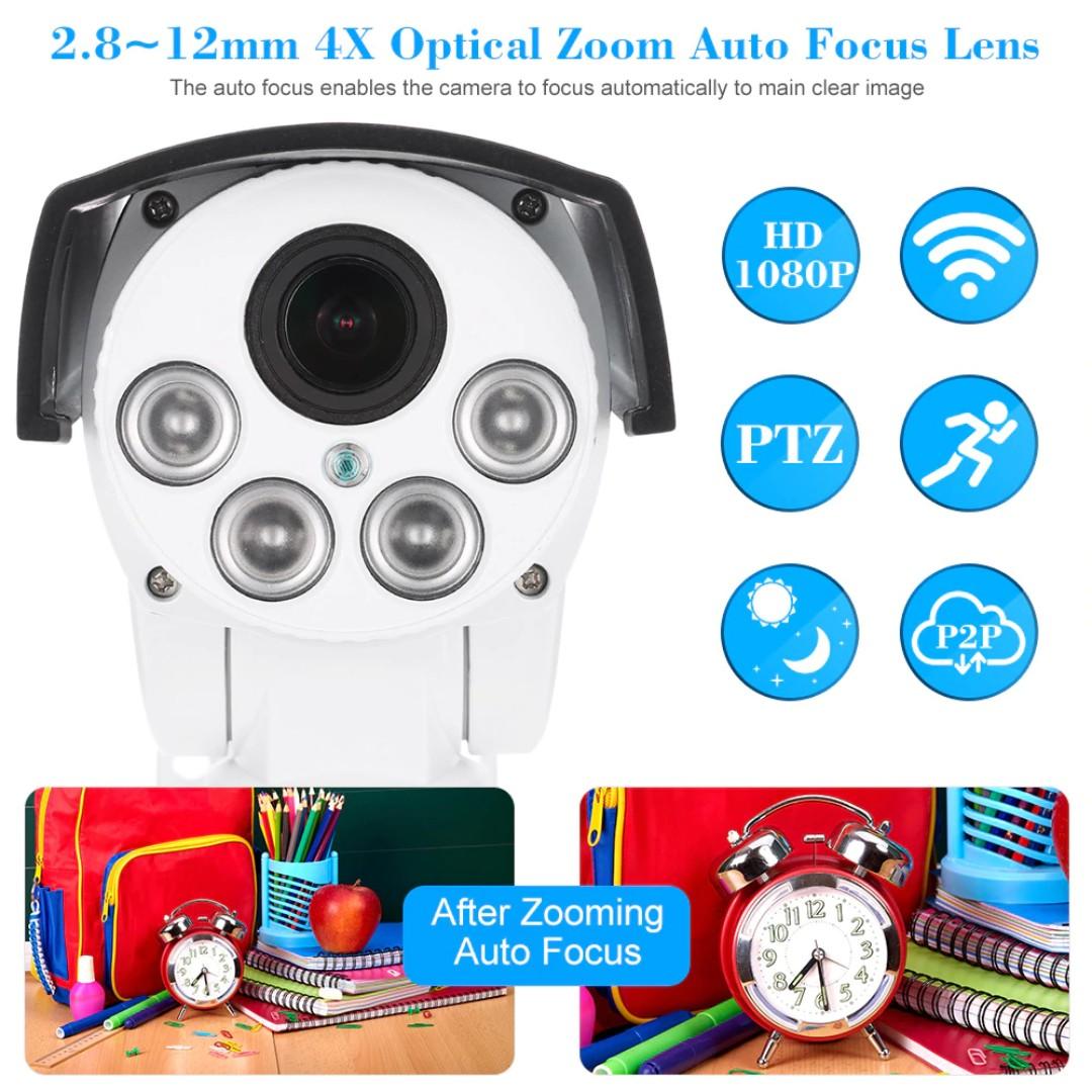 531  KKmoon IP Camera 2MP 1080P HD Wireless WIFI PTZ CCTV Network IP Camera  2 8~12mm Auto-Focus 4x Zoom Lens Waterproof Night Vision