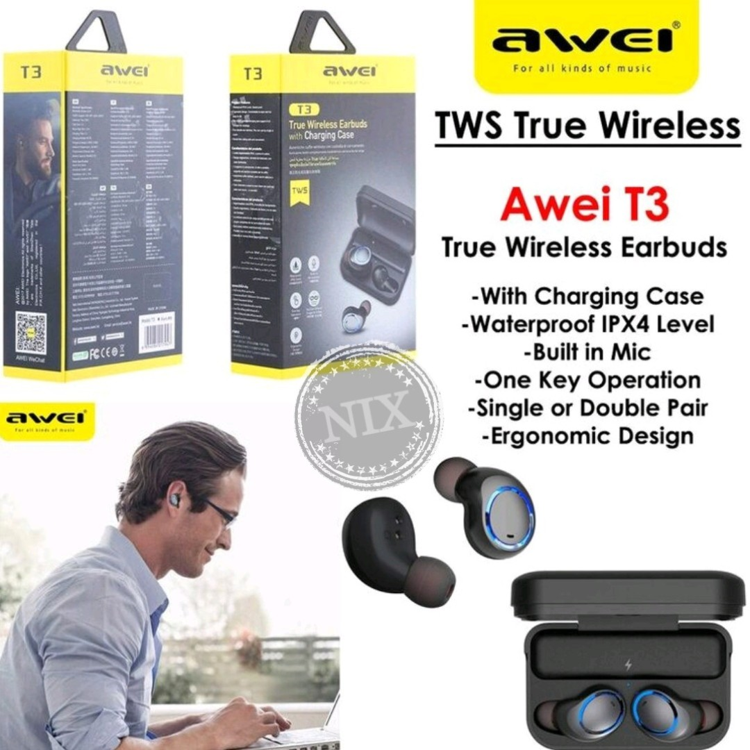 aeb7e3c26ff Awei True Wireless Earbuds T3 Smart TWS Headphones, Electronics ...